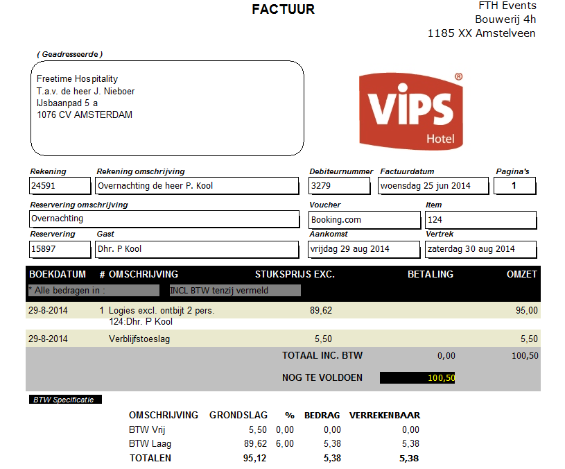 factuur hotel Vips hotel hotelsoftware
